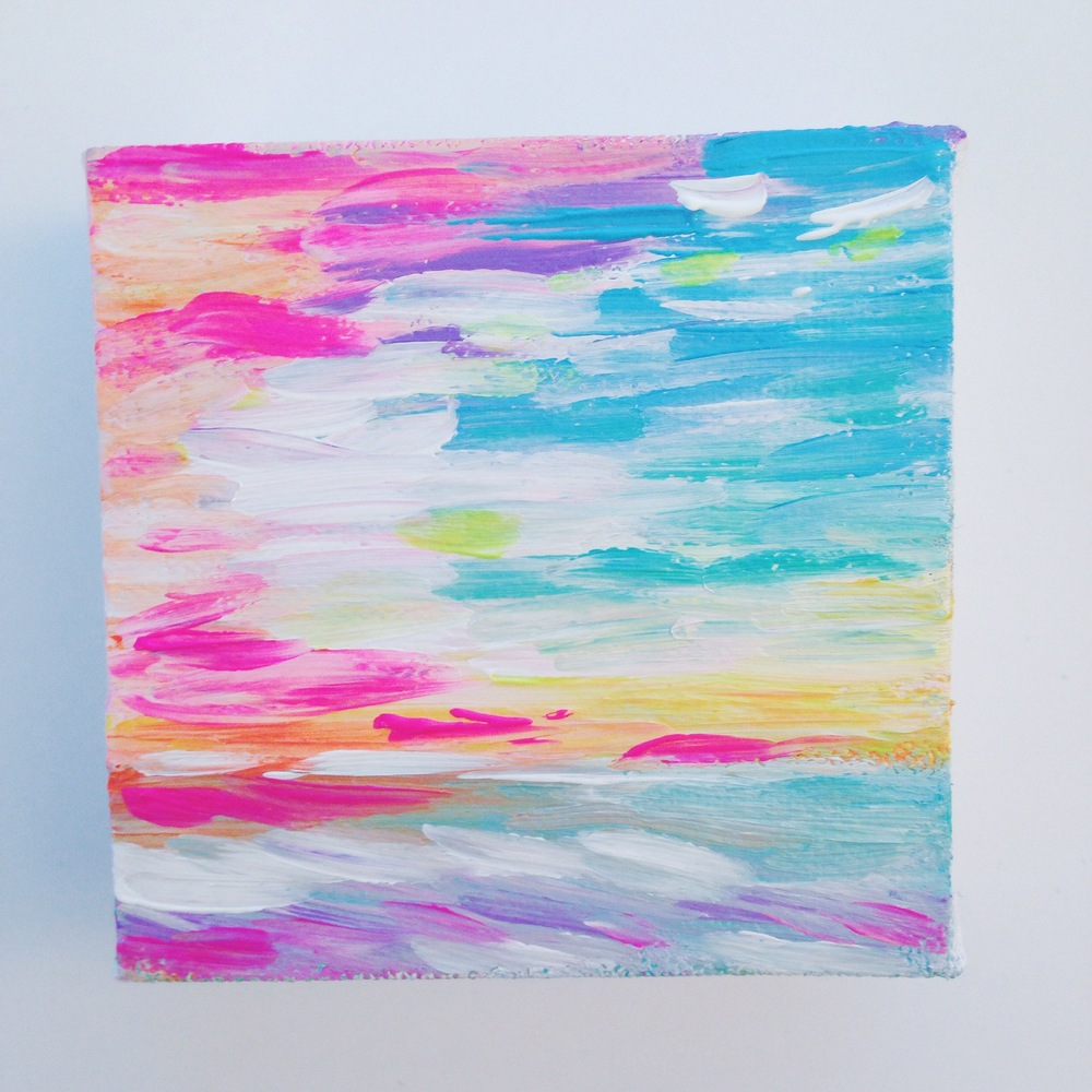 Neon Sunset Seascape | Acrylic Painting by Hello Monday Design