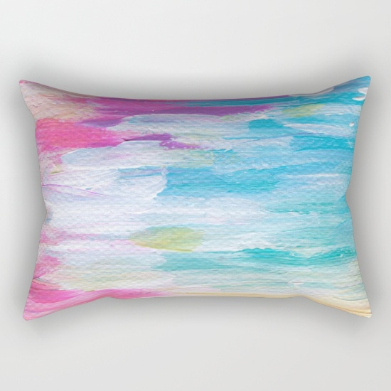 Neon Sunset Rectangle Throw Pillow