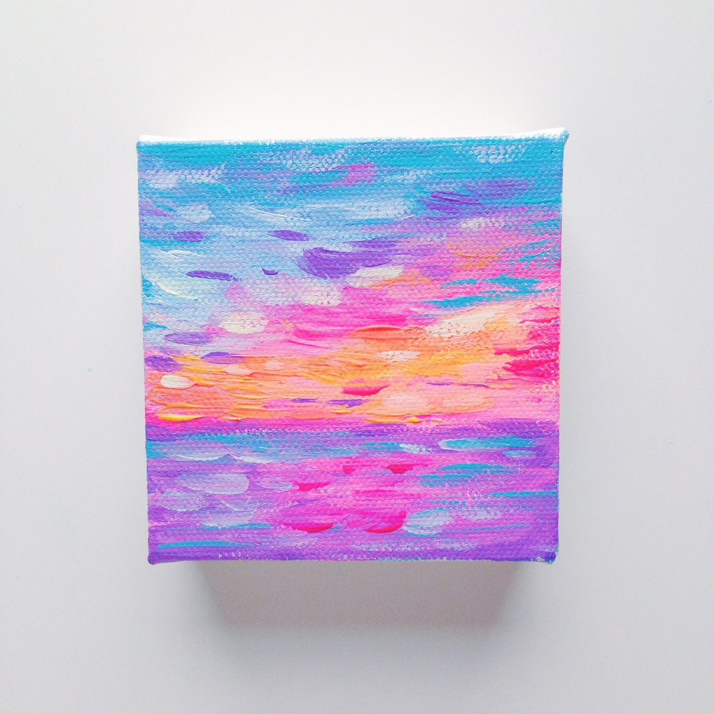 Hawaiian Neon Sunset | Acrylic Painting by Hello Monday Design