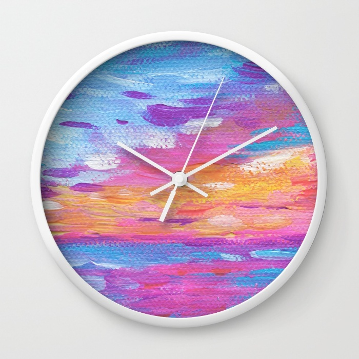 Hawaiian Neon Sunset Wall Clock