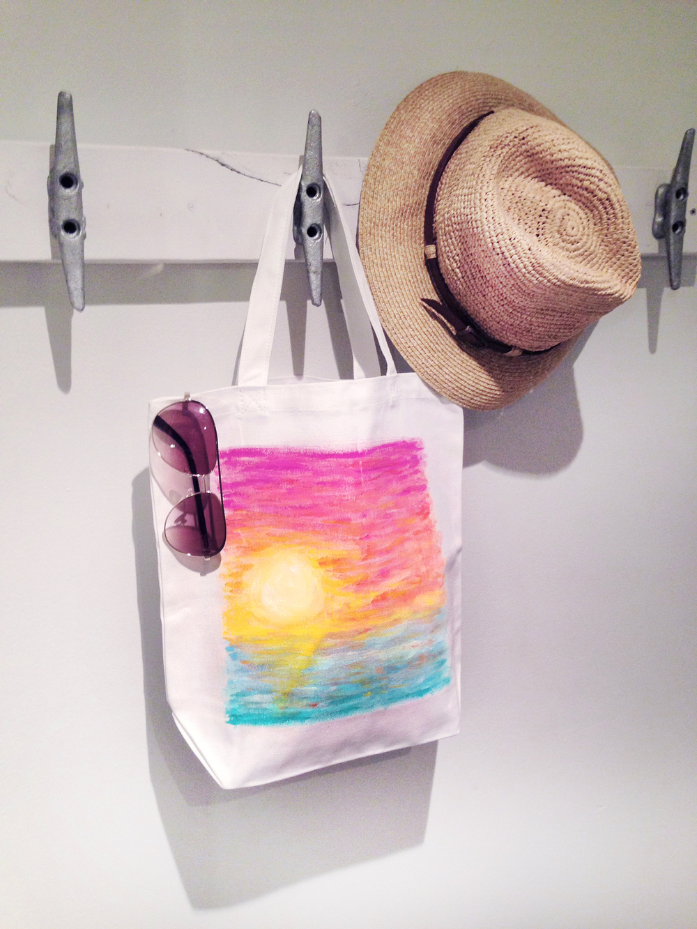 Tropical Sunset Tote Bag | Acrylic Paint on Canvas Tote | Hello Monday Design