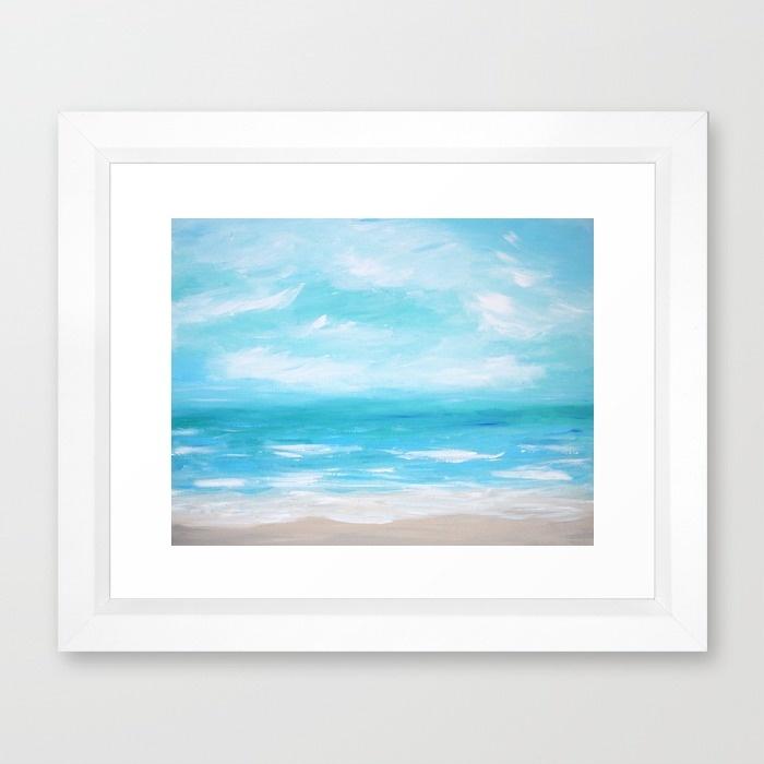 Hello Monday Sea Blue Framed Art Print