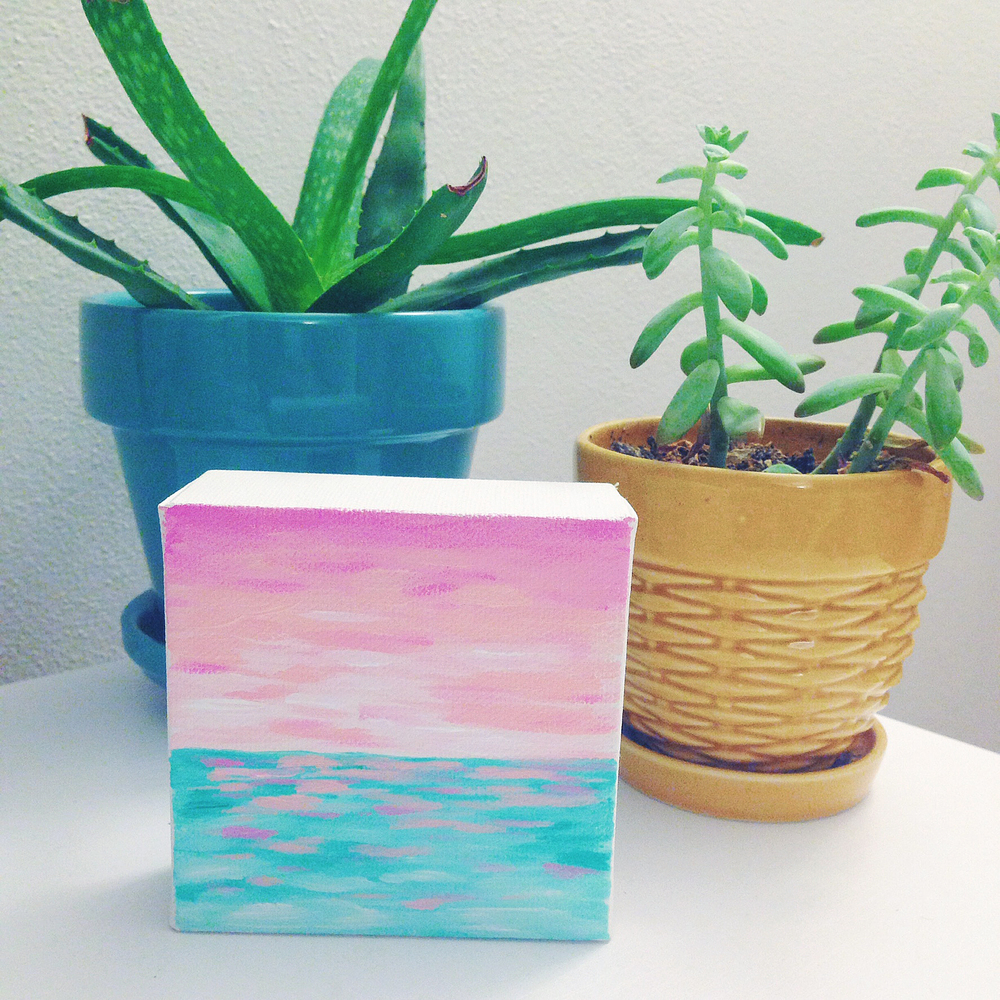 "Cotton Candy Skies | 3""x3"" Mini Acrylic Painting by Hello Monday Design"