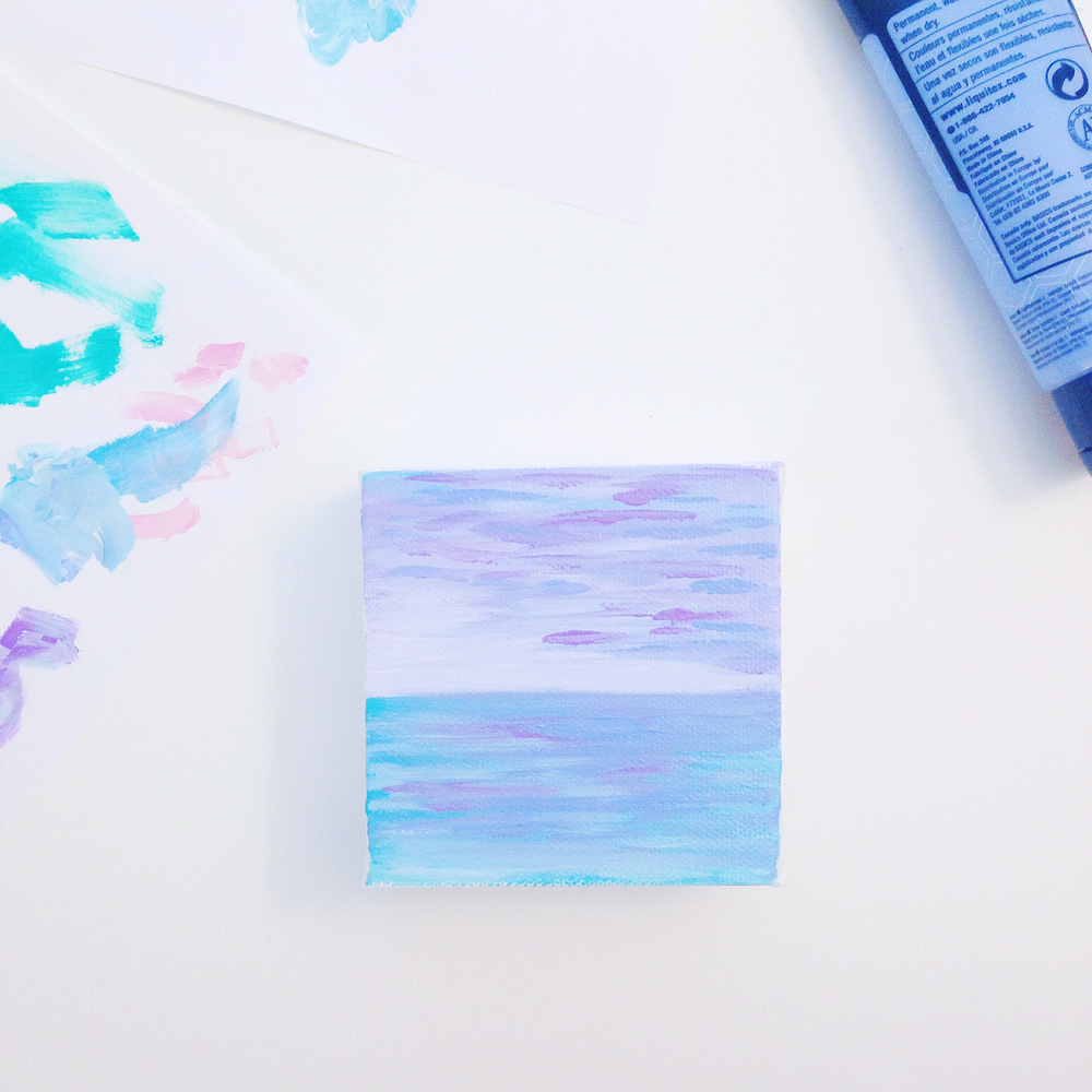 "Lilac Seascape | 3""x3"" Mini Original Acrylic Painting by Hello Monday Design"