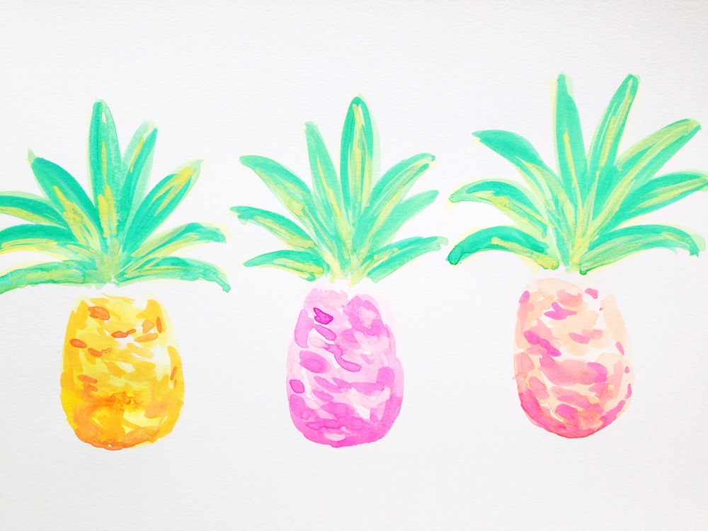 Watercolor Pineapples | Work In Progress | Hello Monday Design