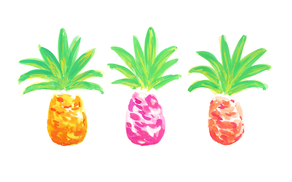 3 Little Pineapples | Original Watercolor Painting by Kristen Laczi of Hello Monday Design