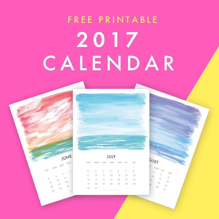 2017 Calendar | Free Printable Calendar | Free 2017 Printable Calendar | Hello Monday Design | Seascape Calendar | Beach Calendar