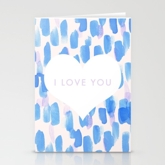 Blue and Purple I Love You Valentines Day Card