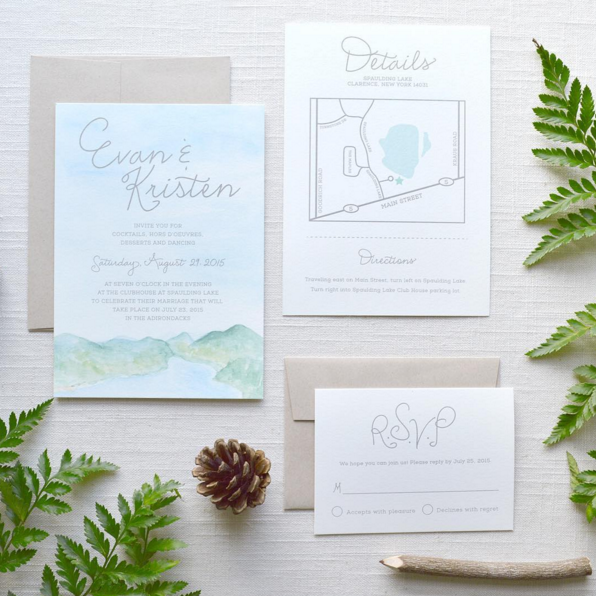 Kristen Laczi Watercolor Wedding Invitations
