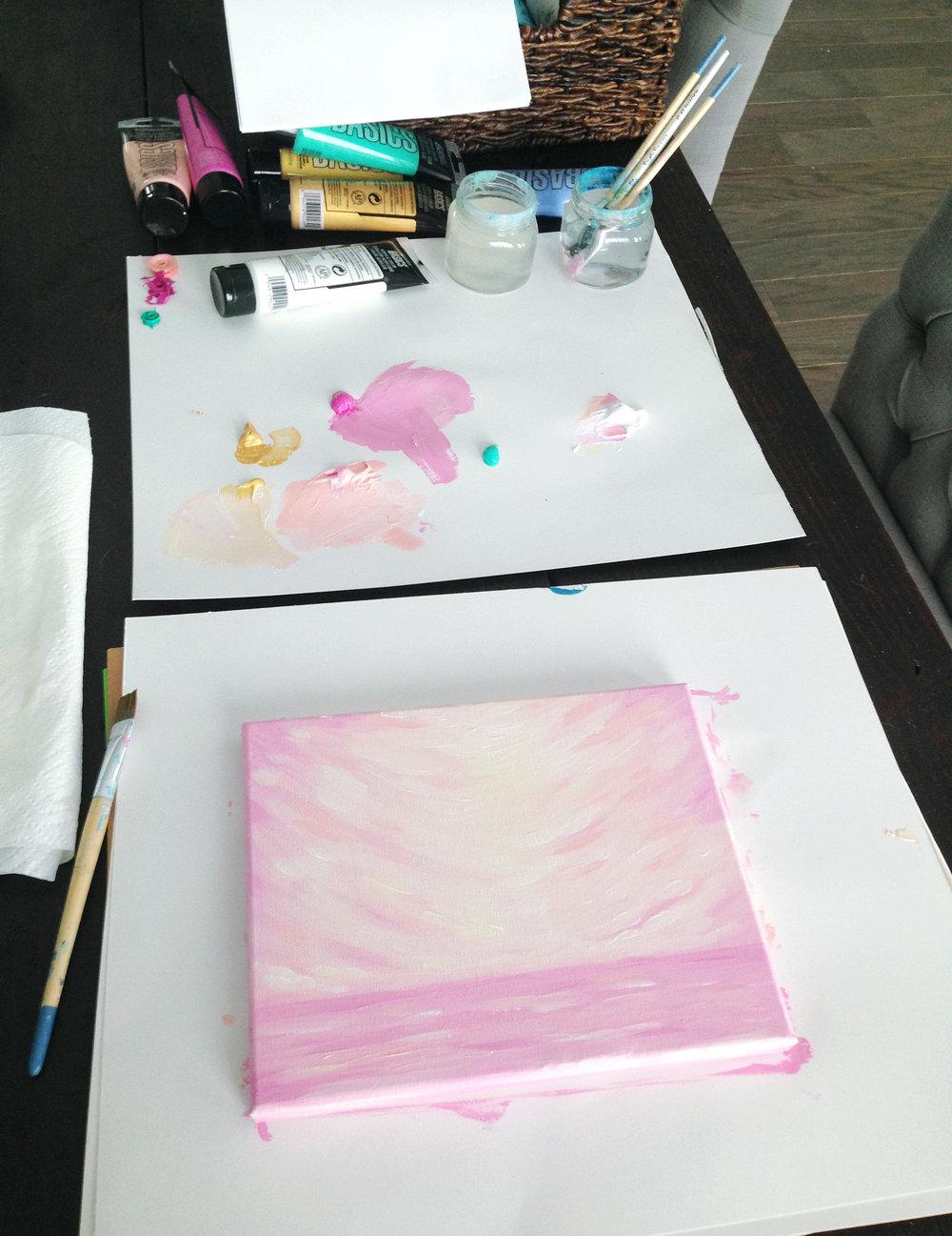 Kristen Laczi Golden Hour Acrylic Painting Work in Progress