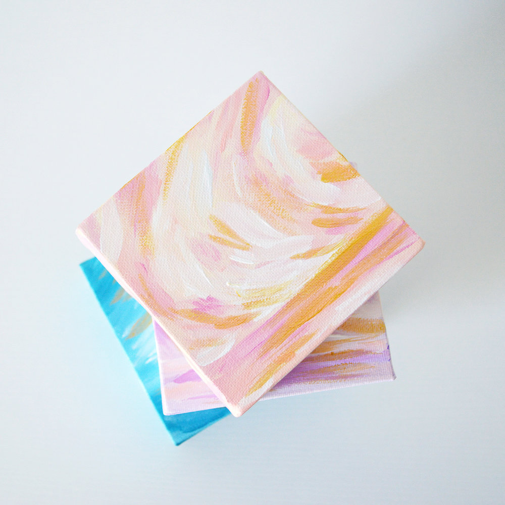 "Golden Hour 3""x3"" Mini Acrylic Paintings by Kristen Laczi"