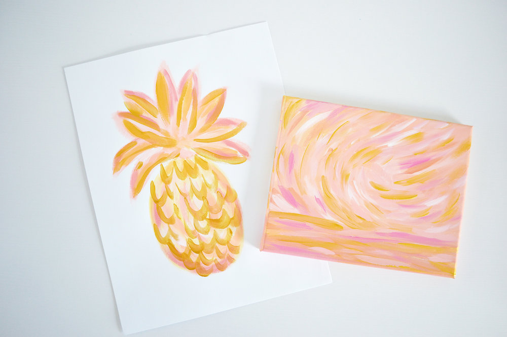 Golden Hour Series Pineapples and Seascapes by Kristen Laczi