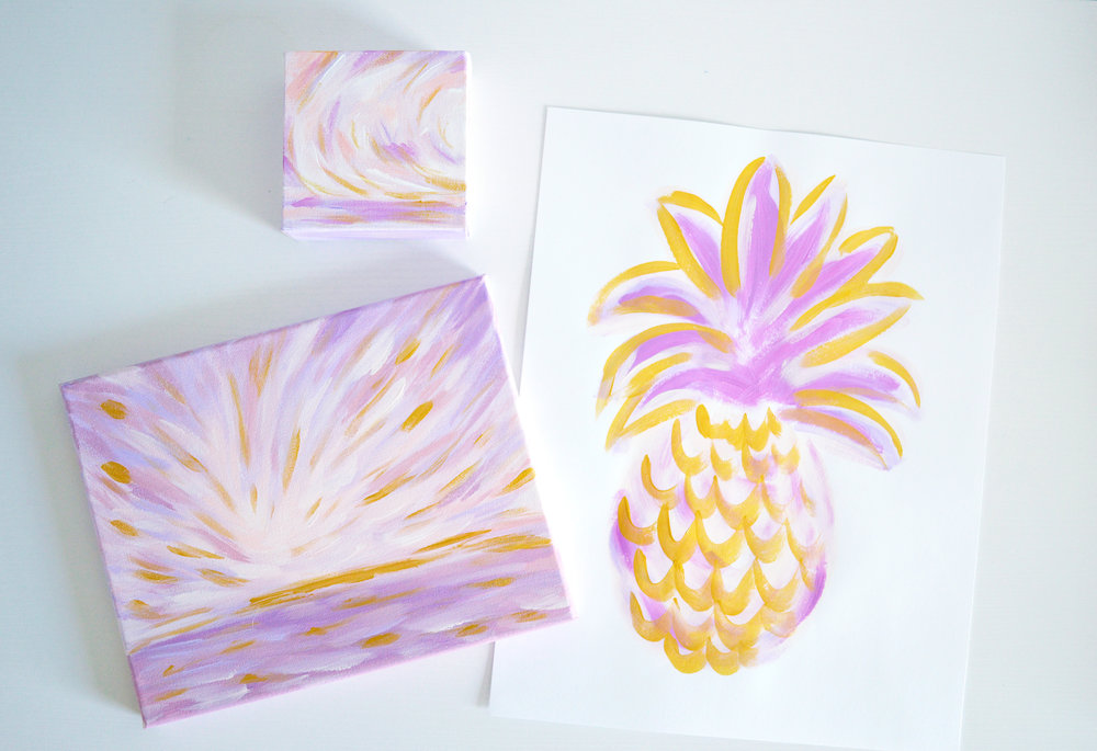 Golden Hour Series by Kristen Laczi Purple Seascapes and Pineapples