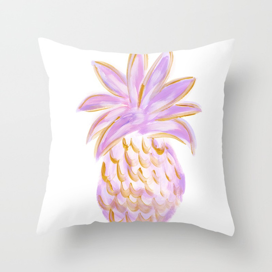 Purple and Gold Pineapple Throw Pillow Society6 Kristen Laczi