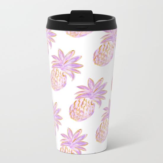 Metal Travel Mug Purple Pineapples Society6 Kristen Laczi