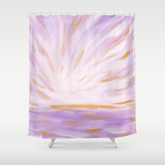 Golden Hour Purple and Gold Seascape Shower Curtain Society6 Kristen Laczi