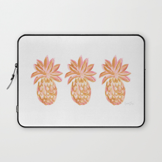 Golden Hour Pink and Gold Pineapple latop case Society6 Kristen Laczi