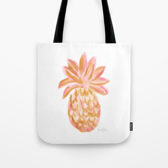 Golden Hour Pink Gold Pineapple Tote Bag Society6 Kristen Laczi