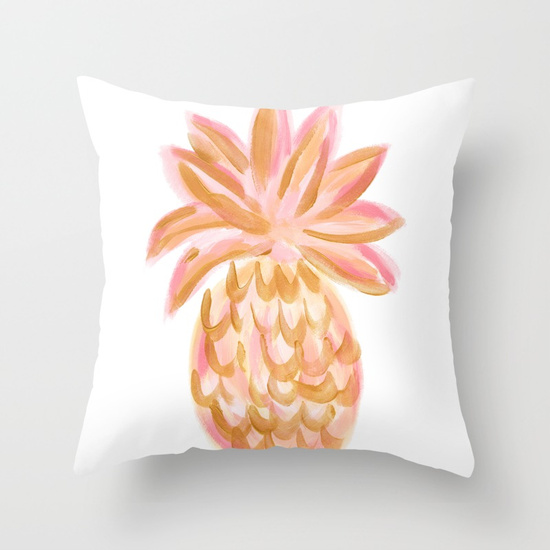 Golden Hour Pink Gold Pineapple Throw Pillow Society6 Kristen Laczi