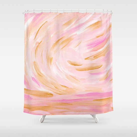 Golden Hour Pink Gold Seascape Shower Curtain Society6 Kristen Laczi