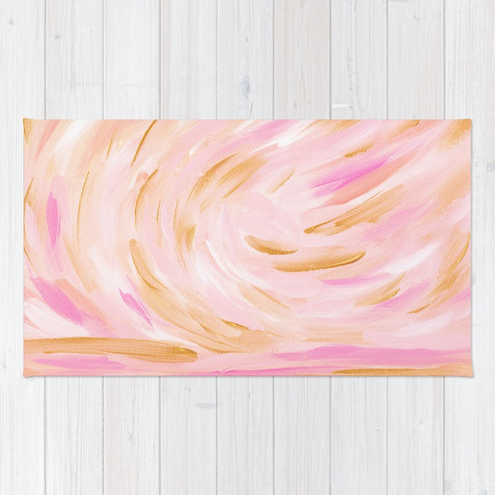 Golden Hour Pink Gold Seascape Rug Society6 Kristen Laczi