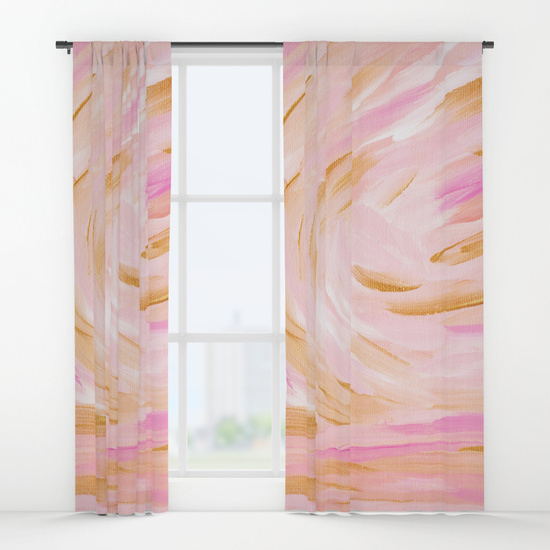 Golden Hour Pink Gold Seascape Curtains Society6 Kristen Laczi