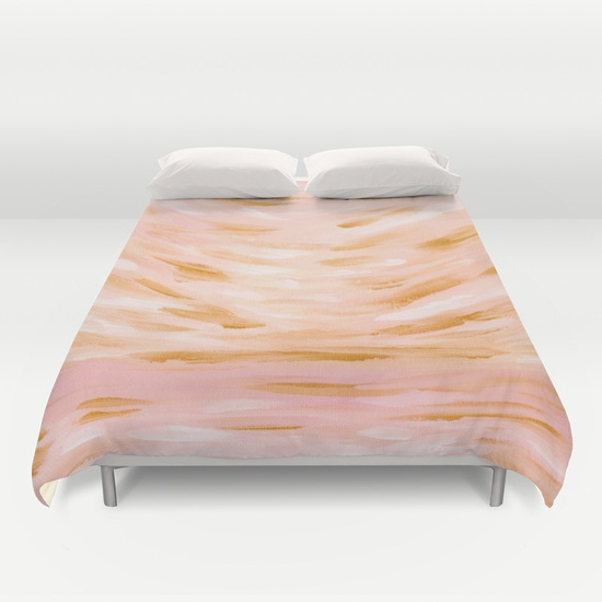 Golden Hour Peach Coral Seascape Duvet Cover Society6 Kristen Laczi