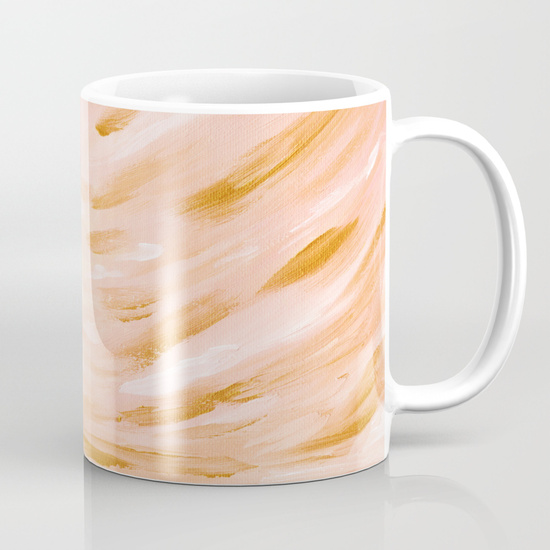 Peach Coral Gold Seascape Coffee Mug Society6 Kristen Laczi Golden Hour