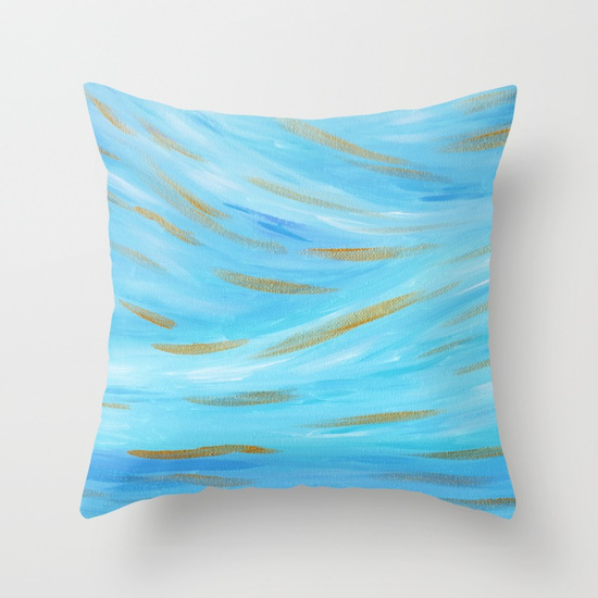 Golden Hour Blue Gold Seascape Throw Pillow Society6 Kristen Laczi