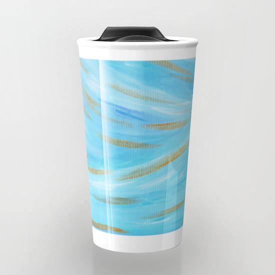 Golden Hour Blue Gold Seascape Travel Mug Society6 Kristen Laczi