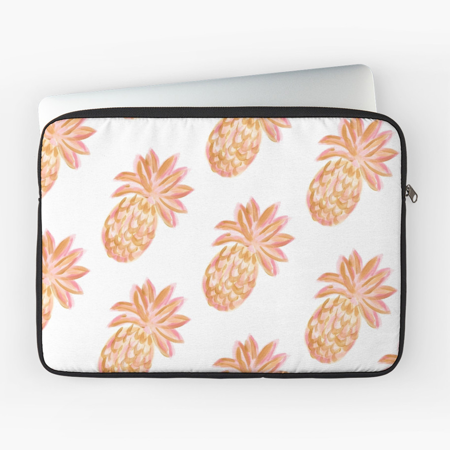 Pink Gold Pineapple Golden Hour Laptop Sleeve Redbubble Kristen Laczi