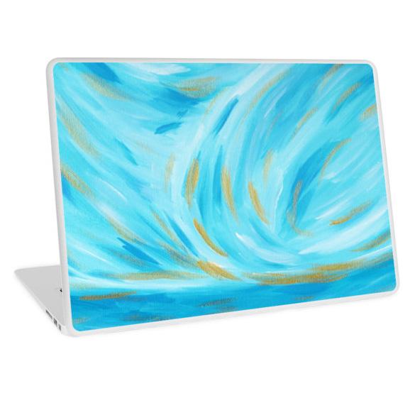 Golden Hour Turquoise Blue Gold Seascape Laptop Skin Redbubble Kristen Laczi