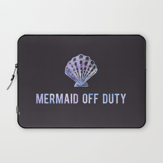 Kristen Laczi Mermaid Off Duty Laptop Sleeve - Black