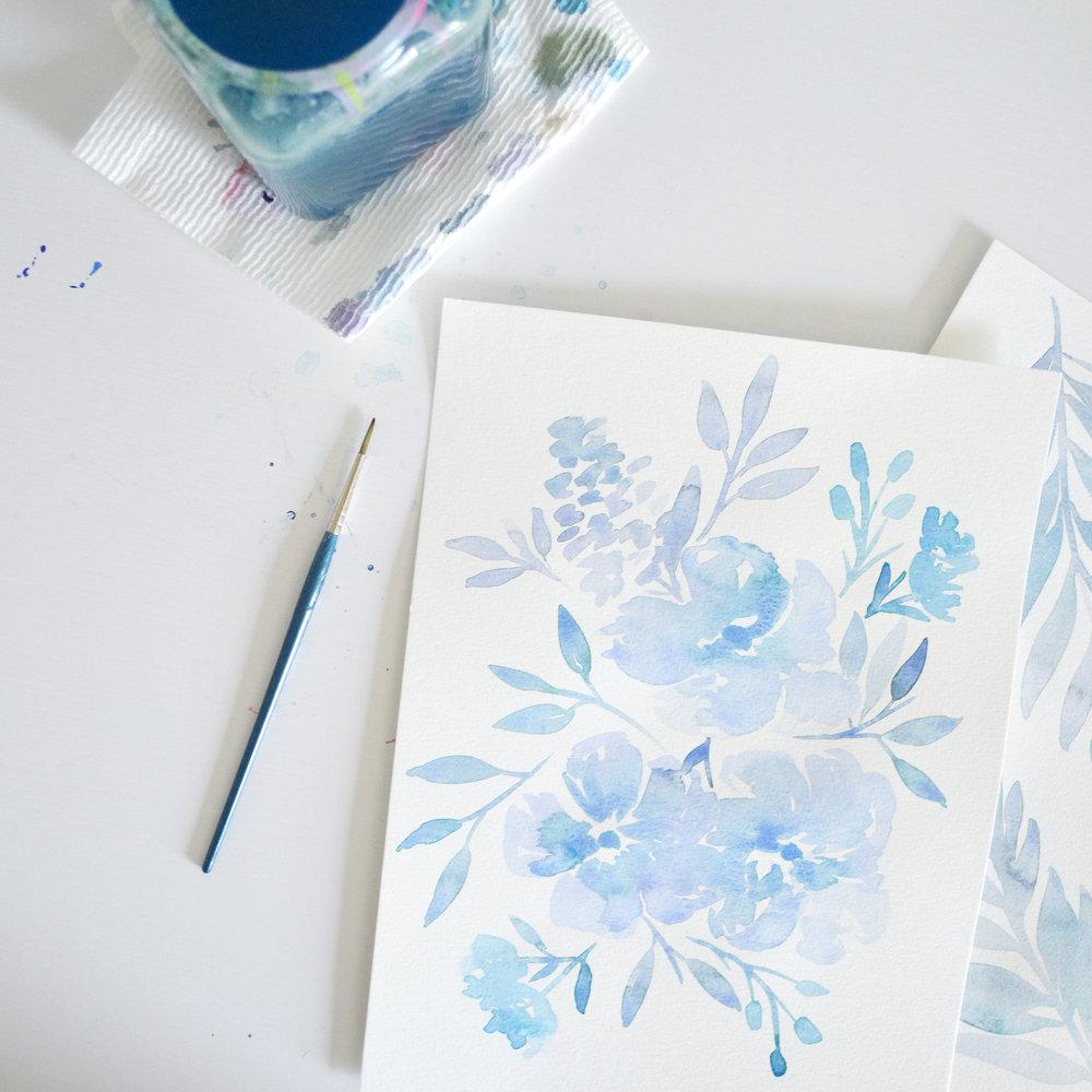 Blue Watercolor Florals by Kristen Laczi