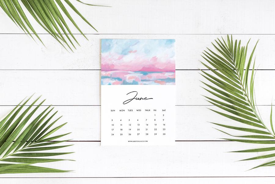 Kristen Laczi 2018 Printable Seascape Ocean Calendar