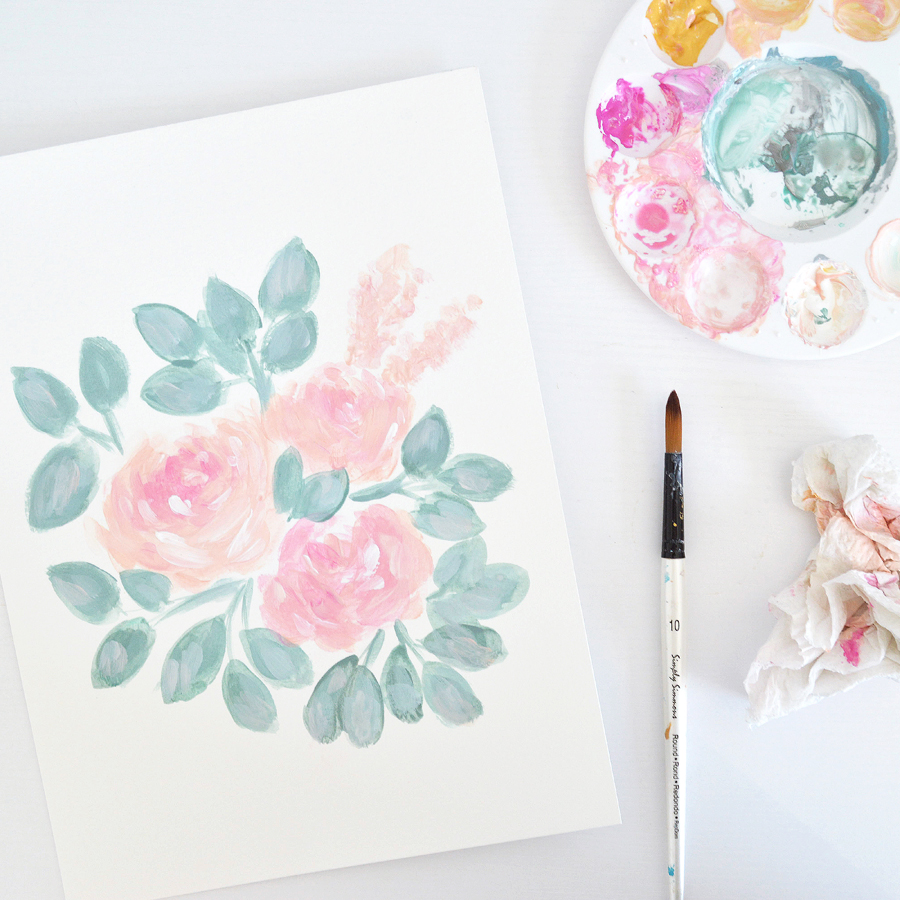 Eucalyptus Peony Bouquet | Floral Painting by Kristen Laczi | 30 Paintings in 30 Days