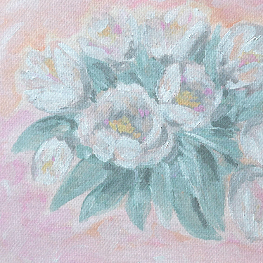 Tulip Bouquet Painting Details by Kristen Laczi