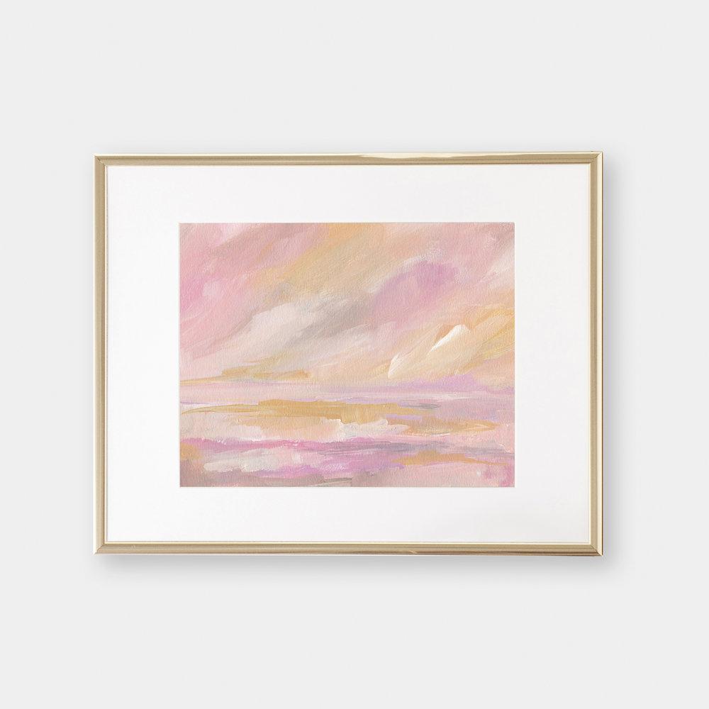 2019 Pink Pastel Seascape Painting by Kristen Laczi