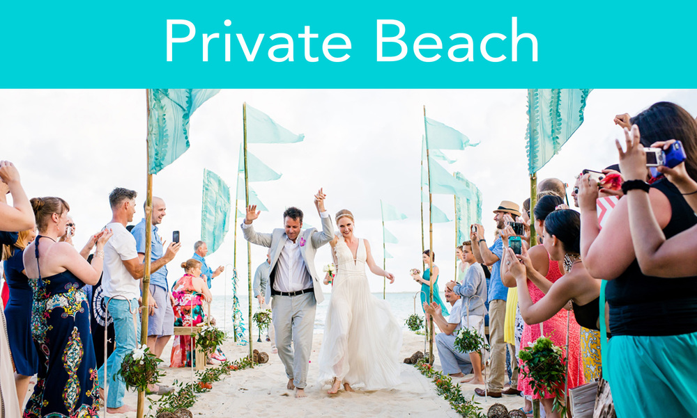 With over 430 ft of beachfront, you can host the ceremony,   reception and/or   rehearsal dinner under the stars   on the beach. The Northern section can be used to comfortably seat larger groups of 100 to 200 people,   whilst the southern section is more intimate among the palm trees for smaller groups.