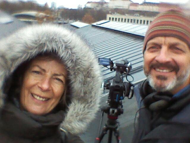 Filming on location on a roof-top in Tallinn, for our client Swedish Steel
