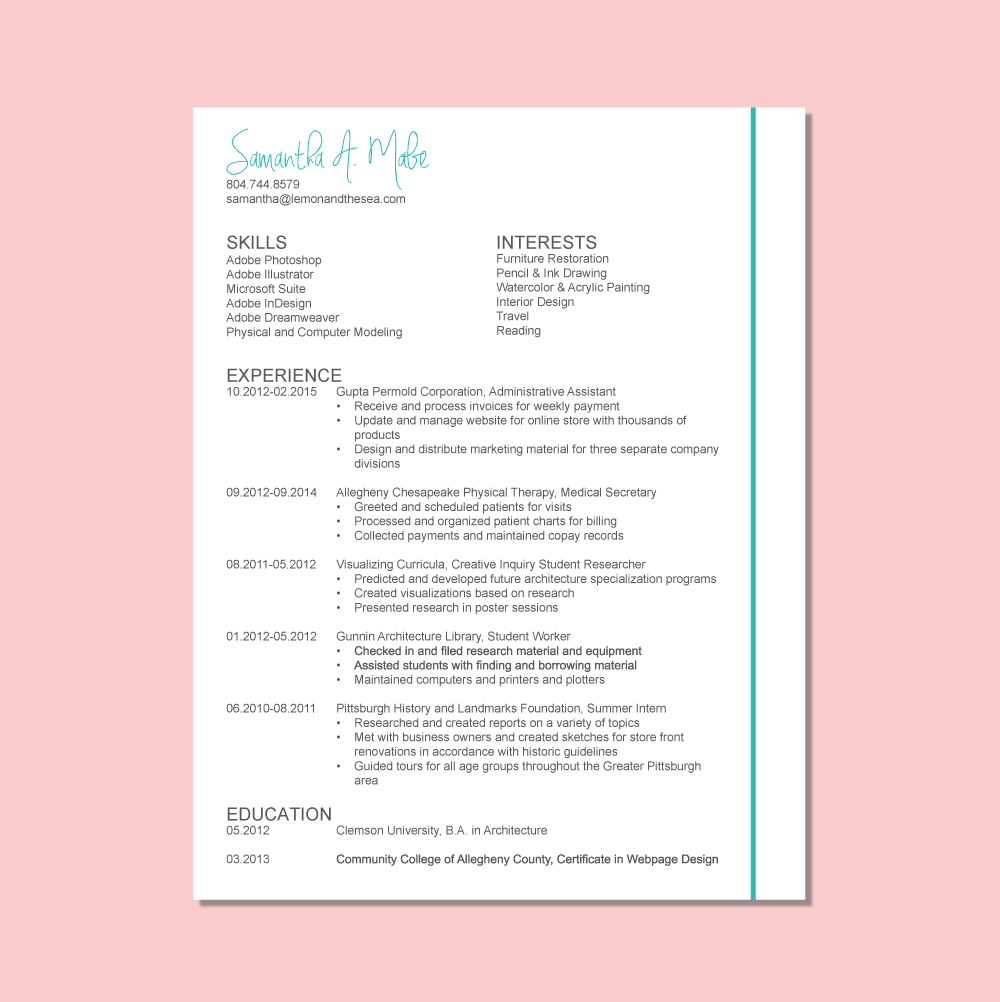 Create a Resume that Stands Out | Lemon and the Sea: What you need on your resume and how to get noticed. Plus, FREE templates!