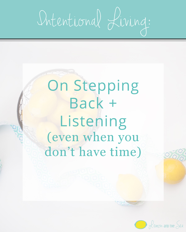 On Stepping Back + Listening | Lemon and the Sea: How to take time out of your busy schedule to check in with God and His plan and why you should.