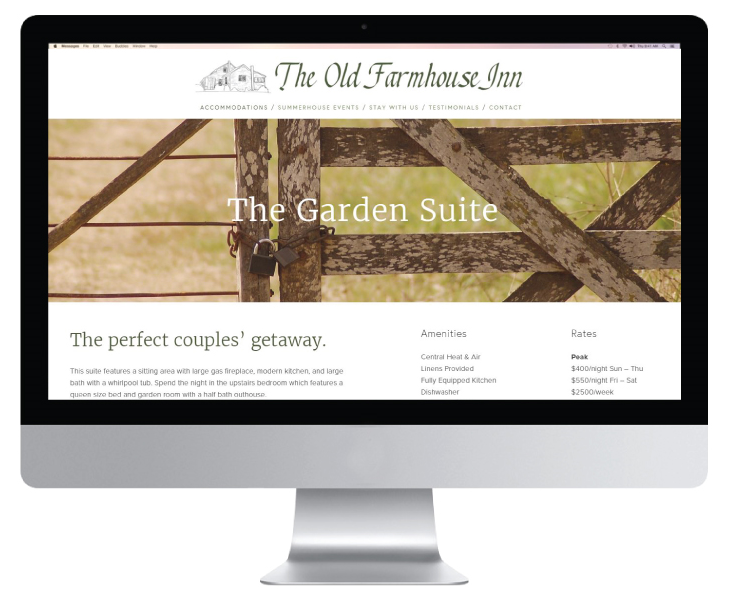 The Old Farmhouse Inn | Lemon and the Sea: brand and website design for North Carolina business, The Old Farmhouse Inn. The brand is all about getting back to nature. This project included a logo design, welcome packet, image curation, and e-commerce website.