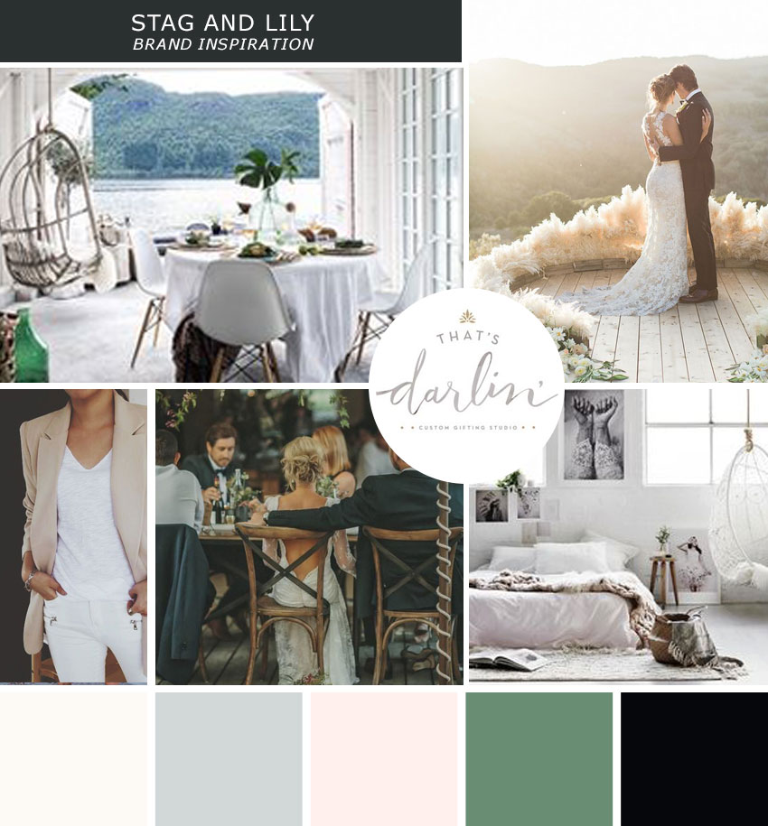 Mood Board for Stag & Lily Event Company | Lemon and the Sea: Luxe Boho Chic brand and  custom Squarespace website for event planner in Richmond, VA. Earthy, classic, sophisticated to reach both brides and grooms.