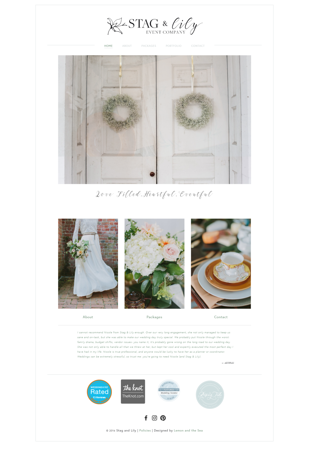 Custom Website Design Home Page for Stag & Lily Event Company | Lemon and the Sea: Luxe Boho Chic brand and  custom Squarespace website for event planner in Richmond, VA. Earthy, classic, sophisticated to reach both brides and grooms.
