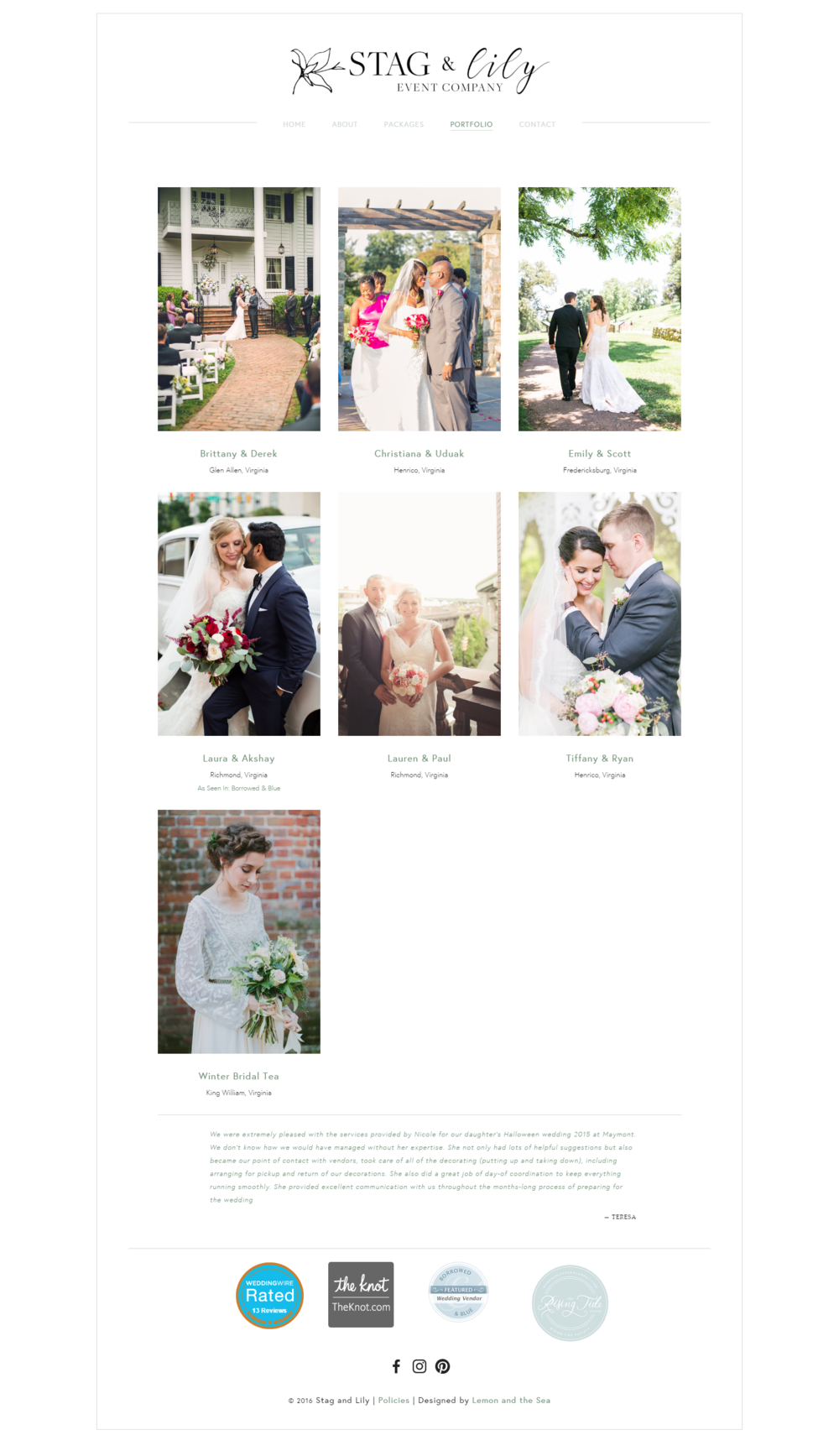 Custom Website Design Portfolio Page for Stag & Lily Event Company | Lemon and the Sea: Luxe Boho Chic brand and  custom Squarespace website for event planner in Richmond, VA. Earthy, classic, sophisticated to reach both brides and grooms.