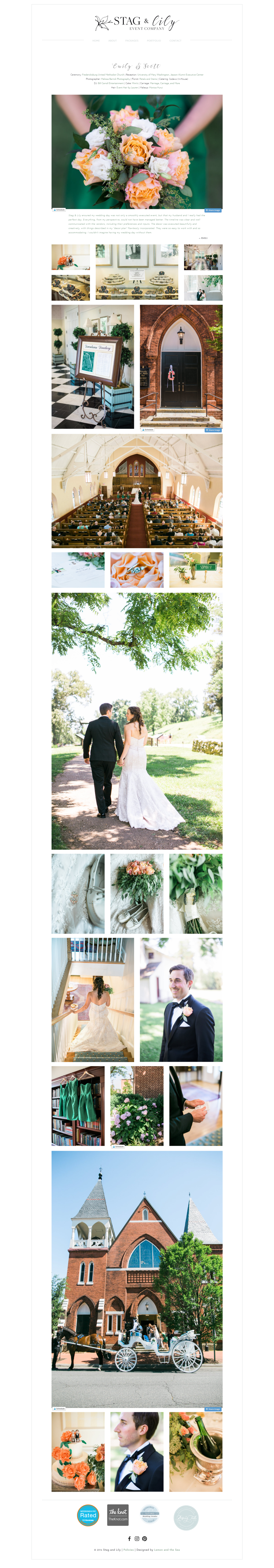 Custom Website Design Gallery Page for Stag & Lily Event Company | Lemon and the Sea: Luxe Boho Chic brand and  custom Squarespace website for event planner in Richmond, VA. Earthy, classic, sophisticated to reach both brides and grooms.