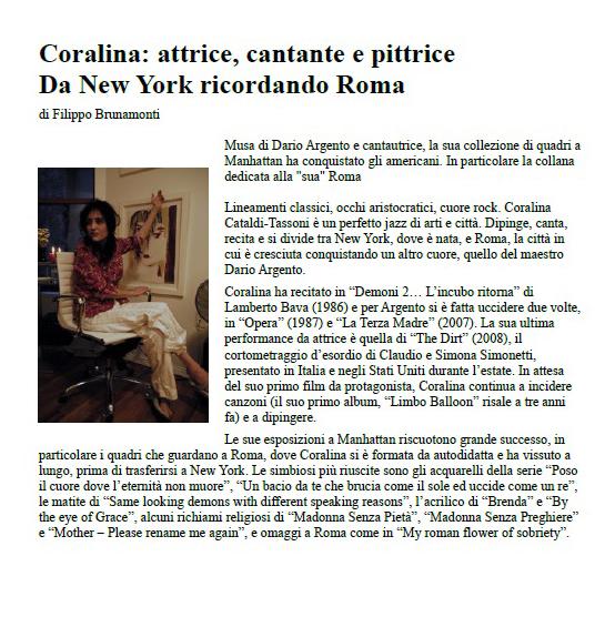 La repubblica Interview with Coralina Cataldi-Tassoni  at studio.jpg