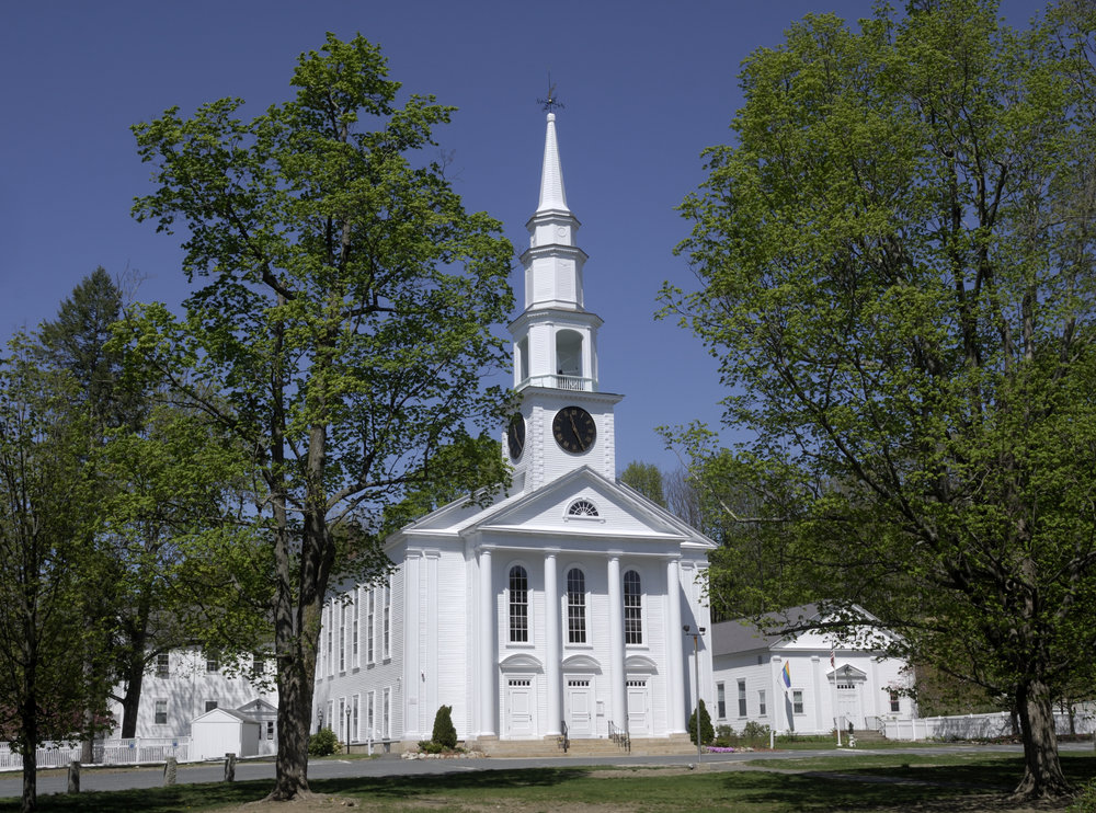 Traditional White Steeple Church in New England
