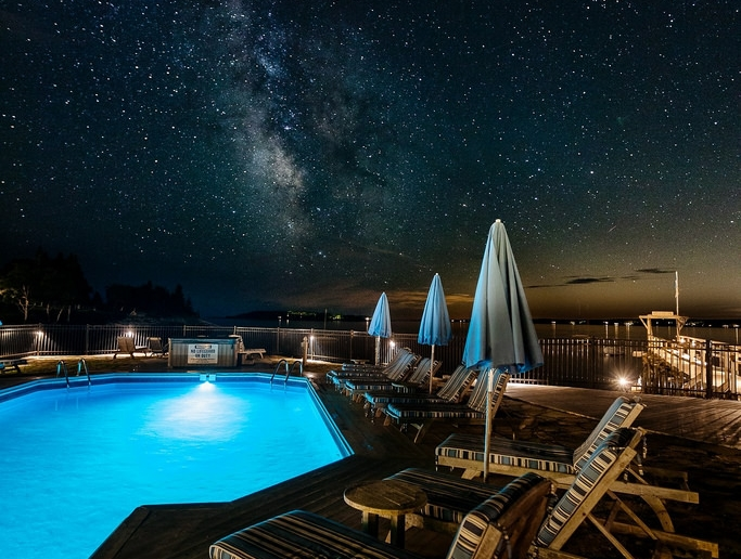 Oceanside Pool Under the Stars at the Spruce Point Inn